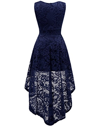 Dressystar Party Women's Lace Sleeveless Cocktail Navy Dress Hi Bridesmaid Dress Lo BH6OBnr