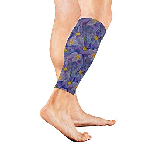 GIRLOS A Blooming Saffron Compression Calf Sleeves Leg Compression Socks Flexible Calf Sleeve for Women Men Pregnant Woman Football Players Playing Basketball Climbing - 1 Pair