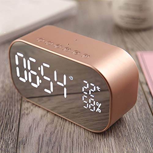- Gotian Double Speaker Mirror Bluetooth Speaker Support FM Clock,for Computer, Home Theatre, Mobile Phone, Portable Audio Player (Rose Gold)