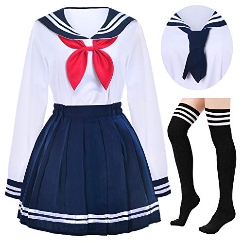Japanese School Girls Uniform Sailor Navy Blue Pleated Skirt Anime Cosplay Costumes with Socks Set(SSF13) XL(Tag XXL)
