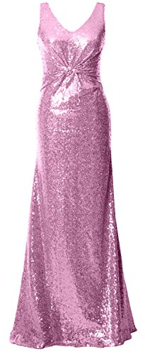 MACloth Women Straps V Neck Sequin Evening Gown Open Back Long Bridesmaid Dress Rosa