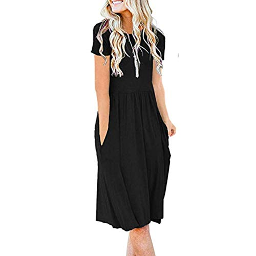 CCOOfhhc Summer Dresses for Women Round Neck Flare Midi Dress Empire Waist Pleated Loose Swing Mini Dress with Pocket Black