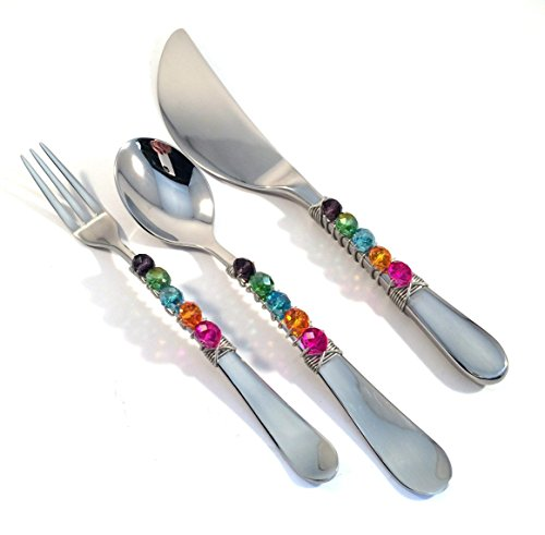 (Beaded Stainless Steel 3 Piece Appetizer Set in Multiple Rondelle Cut Crystal Colors.)