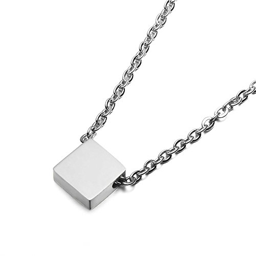 (SEVEN50 Simple Floating 0.5'' Square Pendant Necklace Silver Cube Charm 23'' Length Necklace with Gift Box (White))