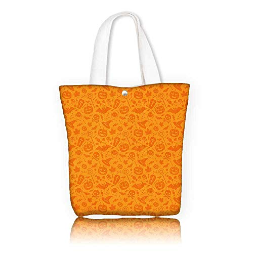 Ladies canvas tote bag —W22 x H15.7 x D7 INCH/reusable shopping bag handbag Print Design Halloween Decorations Monochrome Design with Traditional Halloween Themed Various Objects Celebration