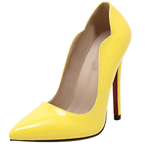 Azbro Mujer Zapato con Puntera Punta de Tacón Alto Alto Bajo Amarillo