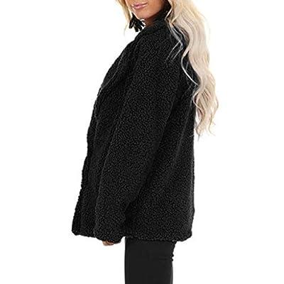 KYLEON Women's Coat Fashion Fleece Fluffy Sherpa Lapel Double-Breasted Pea Coat Parkas Jacket Overcoat Outwear with Pockets: Clothing