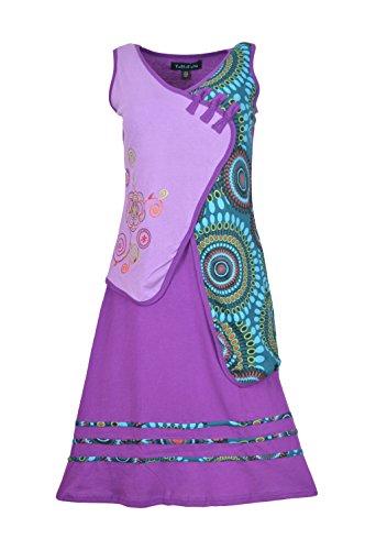Vestido sin mangas púrpura de la Mujer Con colorido bordado Patrón Circular Morado