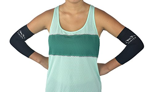 SIMIEN Compression Elbow Sleeve (2-Count) - MEDIUM - Reduces Inflammation & Pain - Tennis Elbow, Golfers Elbow, Elbow Tendonitis - Forearm & Elbow Brace Support - 88% Copper - Results or