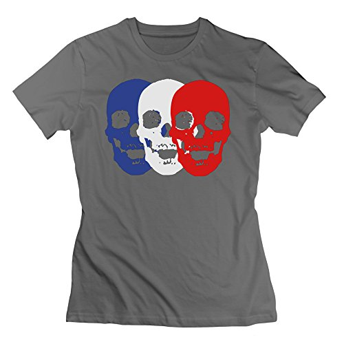 L572 Skull Trio Tee For Women L DeepHeather by L572