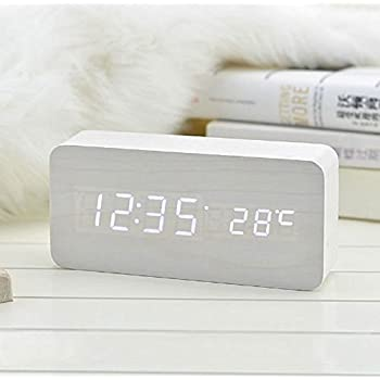 Coondmart LED Wooden Alarm Clock, Digital Watch Despertador Desktop Saat Clock,reloj Table Alarm