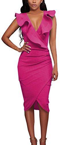 Verano Nuevo Mujeres Moda Cuello V Profundo Sin Mangas Vestido Chic Lado de la Hoja de Lotus Lápiz Vestido Sexy Bodycon Irregular Midi Vestidos de Partido Cóctel Fiesta Rosa Roja