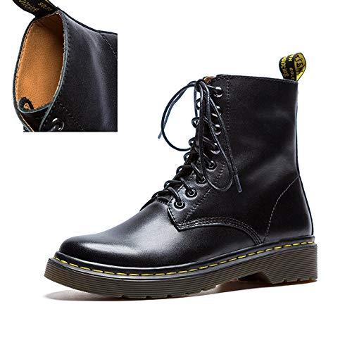 TSNMNB Martin Botas Femeninas Pantalones Cortos británicos Botas Desierto Estudiantes otoño e Invierno Zapatos Femeninos versión Coreana de Las Botas Salvajes Solo lado negro de 8 agujeros