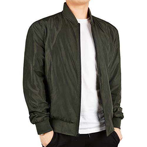 WEEN CHARM Men's Lightweight Bomber Jacket Windbreaker Softshell Flight Bomber Jacket Coat Army ()