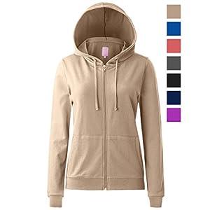 Regna X Women's Long Sleeve Solid Color Pullover Zip up Hoodie Jacket Beige XL