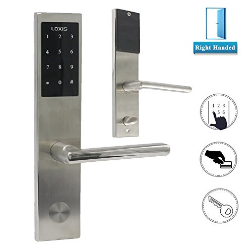 Keyless Entry Door Set - Electronic Digital Keypad Keyless Entry Door Lock Touchscreen Smart Lever Lockset Security Entry Code Lock with RFID Card Right Handed, Satin Nickel