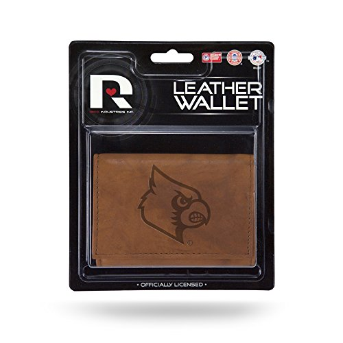 NCAA Louisville Cardinals Leather Trifold Wallet with Man Made Interior - Louisville Cardinals Brown Football