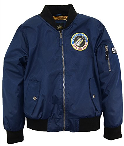 Boys Reversible Bomber - iXtreme Boys' Big Poly Twill Flight Jacket W/Satin Lining, Navy, 8