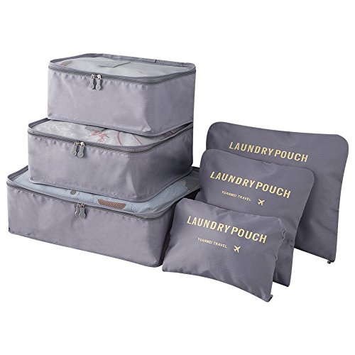 Pack of 6 Packing Cubes-Compression Travel Luggage Organizer-Travel Clothe Storage Bag-Travel Mesh Pouch -Laundry Bag-Travel Packing Organizer-Clothing Sorting Package- Travel Shoe Bag (Gray)