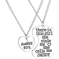 Voberry 2PC Family Charm Gifts Heart Love Hot Pendant Necklace Jewelry Daughter Dad Mother (D)