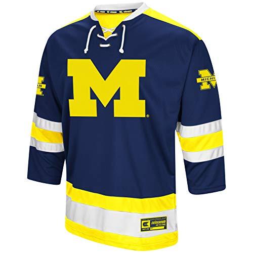 Colosseum NCAA Mens Athletic Machine Hockey Sweater Jersey-Michigan Wolverines-XL