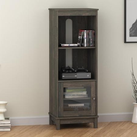 Rustic Wood Doors Solid - Mainstays Audio Pier Bookcases 3 Adjustable Shelves Sliding Glass Doors in Oak