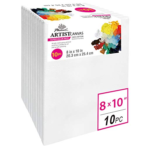 PHOENIX Pre Stretched Canvas for Painting - 8x10 Inch / 10 Pack - 5/8 Inch Profile of Super Value Pack for Acrylics, Oils & Other Painting ()