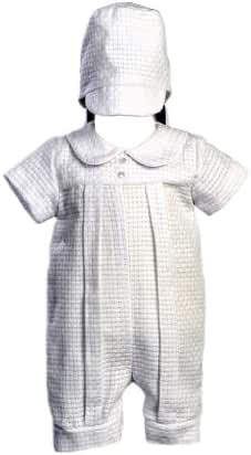 Cotton-Poly Basket Weave Christening Romper and Hat