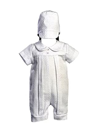 Cotton-Poly Basket Weave Christening Romper and Hat - Size XS (0-3 Months)