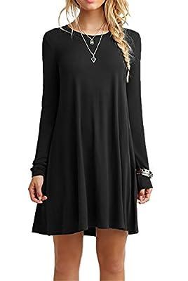 CPOKRTTWSO Women's Casual Plain Tshirt Loose Dresses