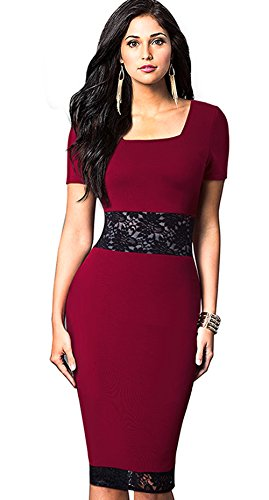 [Merope J Womens Lace Waist Short Sleeves Formal Pencil Round Collar Dress(M,Red)] (Wednesday Addams Halloween Costumes)