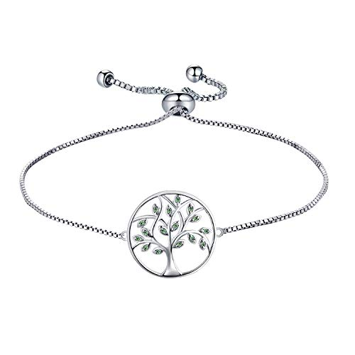 (YL 925 Sterling Silver Bracelet Tree of Life Bracelet Created Emerald Green Jewelry Adjustable Link Bracelet Gifts for Teens Girls Women)