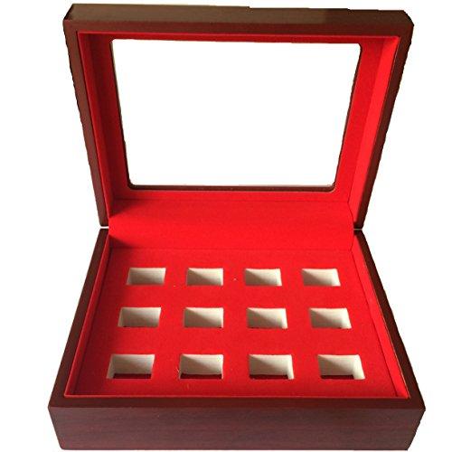 Junning Championship Big Heavy Ring Display Luxury Wooden Jewelry Box (12 holes) (Box Championship Ring)