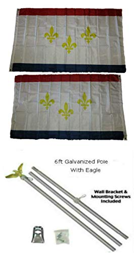 ALBATROS 3 ft x 5 ft City of New Orleans Louisiana 2ply Flag Galvanized Pole Kit Eagle Top for Home and Parades, Official Party, All Weather Indoors Outdoors ()