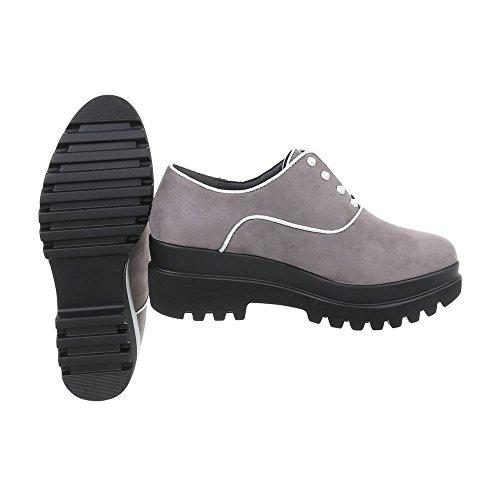 Ital-Design Women's Loafer Flats Block Heel Lace-Ups Grey 4H2sshw9v