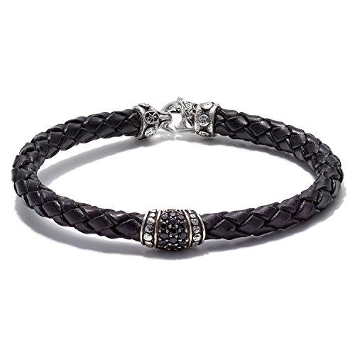 Scott Kay Sparta Collection Black Leather Bracelet, Pave Station Sterling Silver with Black Saphire 6mm, Size 8.5 inches ()