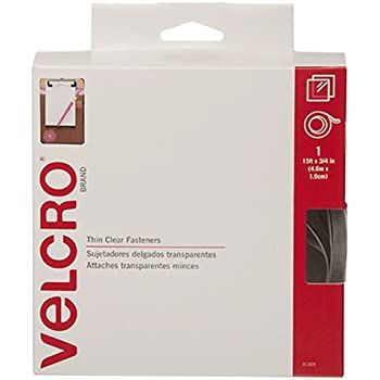 """VELCRO Brand Thin Fasteners Tape 15' x 3/4"""" Tape - Clear"""