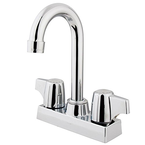 (Kingston Brass KB460 Franklin 4-Inch Center Bar Faucet In Canopy Handles, 3-1/2-Inch, Polished Chrome)
