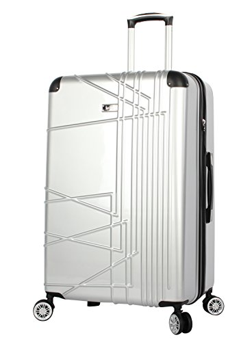 Nicole Miller Trixy Expandable Hardside 24'' Upright Luggage Spinner (24in, Silver) ()