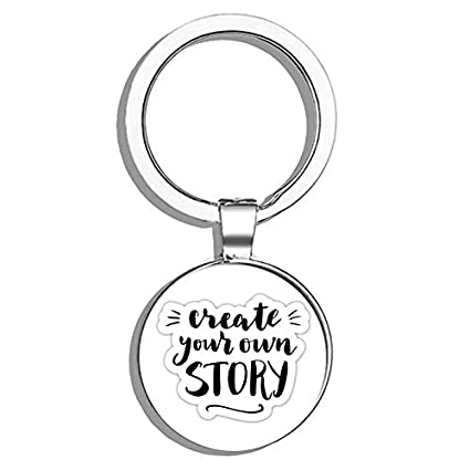 Amazon.com  HJ Media Create Your Own Story Metal Round Metal Key Chain  Keychain Ring  Automotive 7020f1852