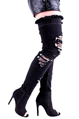 Denim Lolli Couture Open Toe, Disegno A Rete Di Pesci Tagliati Con Cerniera Laterale Sopra Il Ginocchio Tacchi A Spillo Stivali Scarpe Neredenim-m01-67