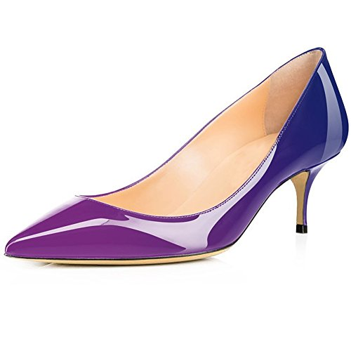 Hecater Pumps Shoes, Womens Classic Slip On Pointed Toe Low Kitten Heel Wedding Dress Shoe Purple-blue