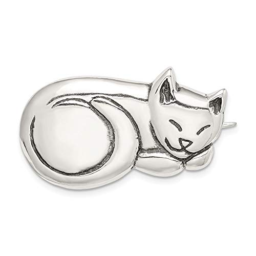 FB Jewels Solid 925 Sterling Silver Antiqued Sleeping Cat Pin