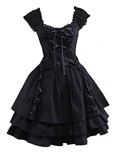 Ainclu Womens Classic Black Layered Lace-Up Cotton Lolita Dress