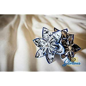 Paper Flower Boutonniere- you choose the type of paper and accent color 112