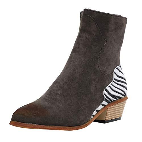 Kauneus Womens Suede Zebra Pattern Patchwork Low Heel Ankle Boot Side Zipper Roman Vintage Combat Boots Saddle Boot Dark Gray