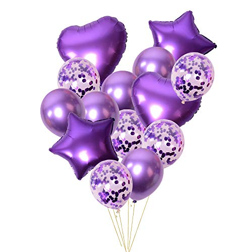 Purple Confetti Latex Balloons Set Metallic Foil Balloon Birthday Party Decoration 14pcs/Pack