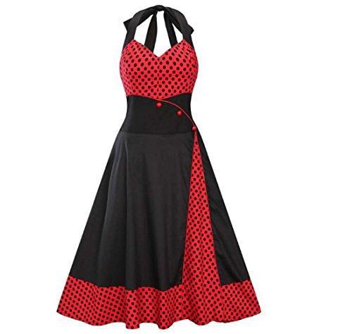 Pull col V Grande Taille Nouveau Bouton Grande Jupe Swing Rouge Noir XIAOXAIO (Couleur : Noir, Taille : XXL)