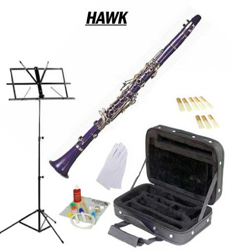 Hawk Purple Bb Clarinet Package with Case Reeds Music Stand & Cleaning Kit WD-C213-PL-PACK