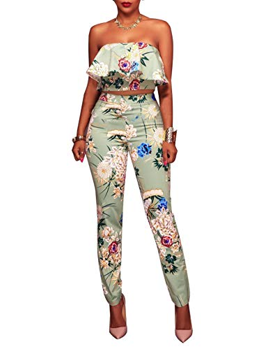 Women's Floral Print Sleeveless Strapless Top Casual Bodycon Stretch High Waist Long Pants 2 Pieces Jumpsuit Light -